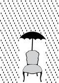 Rain and umbrella over chair, vector illustration — Stock Vector