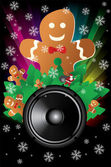 Rainbow Disco Background with speaker, snowflakes, santa claus and cookies — Vector de stock