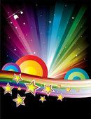 Ilustración discoteca colorido de la música — Vector de stock