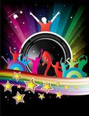 Music colorful disco illustration — Stock Vector
