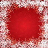 Christmas red background with snowflakes — Stock Vector