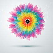 Big rainbow flower with speaker — Vector de stock