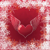 Valentine's card with heart and wings — Stock Vector