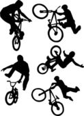 Bmx rider silhouette — Stock Vector