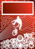 Guy on a bmx and background with stars, gearwheels — Stock Vector