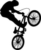Bmx rider silhouette — Stock Vector