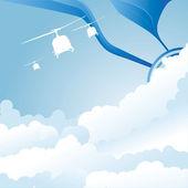 Blauer himmel hintergrund mit cloud-vektor-illustration — Stockvektor