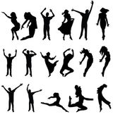 танец многие силуэт. векторные иллюстрации — Cтоковый вектор