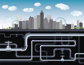 иллюстрация большой город — Cтоковый вектор