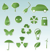 Collection of green eco-icons — Stock Vector