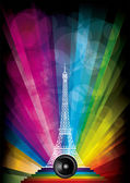 Vector card with eiffel tower and neon lights on a rainbow background — Stock Vector