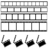 Clapper board and Film frame — Vector de stock