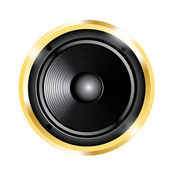 Illustration of golden audio speaker — Stock vektor