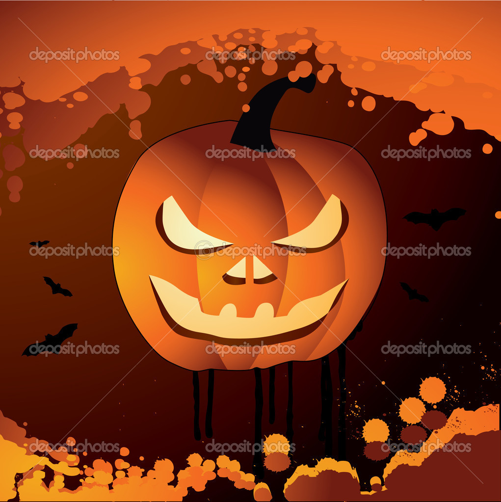 Halloween vector illustration scene with pumpkin — Stock Vector #18094043