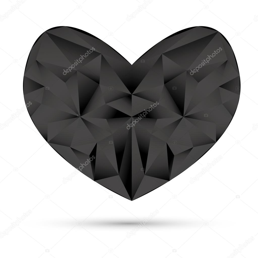 Valentine's card with black origami heart — Stock Vector #18094199