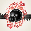 Illustration for a musical theme with speakers — Imagen vectorial