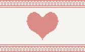Knitted vector pattern with heart — Stock Vector