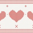 Knitted vector pattern with red heart — Stock Vector