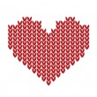 Seamless Knitted pattern with red heart — Stock Vector