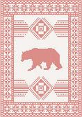 Pletený vzor s medvědem — Stock vektor