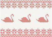Knitted pattern with swan — Stock Vector