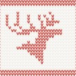 Christmas Knitted background with deer — Stock Vector