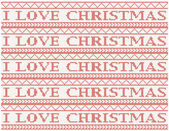 Knitted background i love christmas — Stock Vector