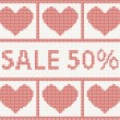 Christmas Sale.Knitted pattern with hearts — Stock Vector