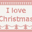 I love Christmas. Knitted pattern — Vettoriali Stock