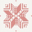 Red knitted snowflake Seamless background — Stock Vector