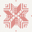 Stock Vector: Red knitted snowflake Seamless background