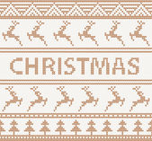 Christmas knitted pattern with deers. seamless — Vector de stock