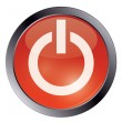 Red glossy power button on white — Stock Vector