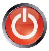 白地に赤い光沢のある電源ボタン — ストックベクタ