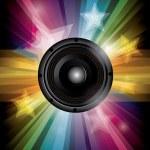 Disco club flyer with black speaker — Stock Vector #42399615