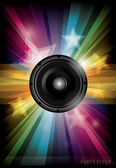 Disco club flyer with black speaker — Vector de stock