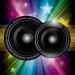 Disco club flyer with black speakers — Stock Vector