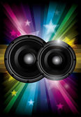Disco club flyer with black speakers — Vector de stock