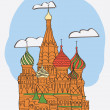 St. Basil's Cathedral on Red square — Stock Vector