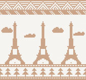 Eiffel tower: Scandinavian style seamless knitted pattern — Stock Vector