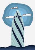 The gherkin building, London — Stock Vector