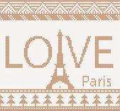 Eiffel tower: Scandinavian style seamless knitted pattern — Stock Vector