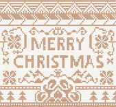 Knitting pattern with merry christmas — Stockvektor