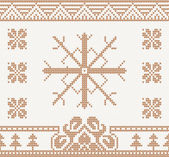 Knitted pattern with snowflake — Stock Vector