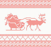 Knitted pattern with Santa Claus — Vetor de Stock