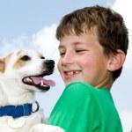 Boy with Dog — Stock Photo