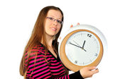 Girl with the clock — Stok fotoğraf