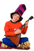 Boy with balalaika — Stock Photo