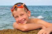 Smile young swimmer — Stock Photo