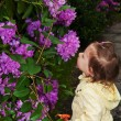 How to smell the flowers — Stock Photo